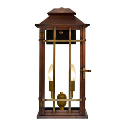"The CopperSmith - Bad Lands by The CopperSmith BL-18 Electric Lantern - Bad Lands 2 Lite 17.5"" Electric Wall Lantern by The CopperSmith.  This versatile lantern blends nicely with Mission Style, Arts & Crafts, Bungalow and even Contemporary architecture.  Bad Lands can be used for both interior or exterior applications.  The lovely antique copper finish accented by brass cross bars will age naturally over time creating it's own unique patina.  This lantern is constructed of 20 oz. Copper that is hand rubbed to an antique patina.  The cross bars and sockets are solid brass.  The back plate and mounting is sturdy steel finished in a durable black powder coat finish.  Bad Lands is also available in Gas.  For a larger size, see BL22E."
