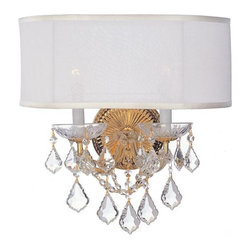 Crystorama 4482-GD-SMW-CL-MWP Brentwood Sconce Draped in Hand Cut Crystal -