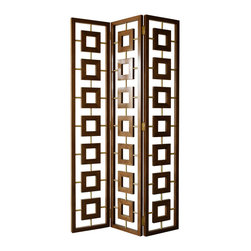 """Jonathan Adler - Jonathan Adler Walnut Desmond Screen - A series of wooden squares boast an organic sensibility in Jonathan Adler's Desmond screen. Contemporized with brass accents, this folding accent piece lends textured personality to corners or vignettes.  46""""W x 1.25""""D x 81""""H; Walnut veneer; Polished brass"""