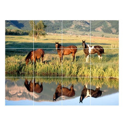 Picture-Tiles, LLC - Horse Picture Kitchen Bathroom Ceramic Tile Mural  12.75 x 17 - * Horse Picture Kitchen Bathroom Ceramic Tile Mural 1599