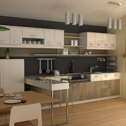 modern small kitchen - material is from plywood and ...