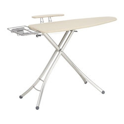 Fibertech® Wide Top Ironing Board with Sleeve Board - This green-minded ironing board promotes a neat appearance now, a clean planet later. Four polished steel legs create an elegant contoured stance, supporting an eco-friendly board. Made from natural plant fibers, the Fibertech board is biodegradable in 120 to 180 days in a landfill, or two to three years in a field environment. Thoughtfully designed to deliver crisp, wrinkle-free clothes, this folding ironing board features a retractable sleeve board, fixed iron rest, hanger bar and extra-wide surface area to accommodate larger items and hefty steam irons. Board and sleeve bar are fitted with matching cotton covers.
