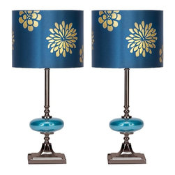 Aspire - Braxton Table Lamp - Set of 2. This lamp features an elegantly designed drum shade. The shade has gold flowers on a shiny blue background. The shade matches the elliptical ball near the base of the accent. Metal and glass. Color/Finish: Blue, gold, silver. UL listed. Uses 60 watt max bulb. 19 in. H x 9 in. W x 9 in. D. Shade: 7 in. H x 9 in. W x 9 in. D. Weight: 4 lbs.