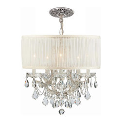 Crystorama - Crystorama Brentwood 2 Tier Chandelier in Chrome - Shown in picture: Polished Chrome Maria Theresa Chandelier Draped in Clear Hand Cut Crystal and accented with a Antique White Shade.; This isn't your Grandmother's crystal. The Brentwood Collection from Crystorama offers a nice mix of traditional lighting designs with large tailored encompassing shades. Adding either the Harvest Gold or the Antique White shade to these best selling skus opens the door to possibilities for these designer friendly chandeliers. The Brentwood Collection has a touch of design flair that will work for your traditional or transitional home.