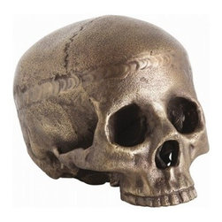 Casper Aluminum Skull | Pulp Home - This kitschy antique brass skull is the perfect accompaniment to a stack of books or accessorizing a shelf or table. FINISH: Antique Brass