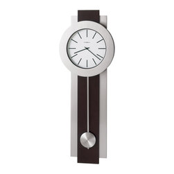 Howard Miller - Howard Miller Bergen Quartz Wall Clock - Howard Miller - Wall Clocks - 625279 - This modern wall clock makes an emphatic style statement in home or office. Distinguished by its long nickel and cherry wood column and brushed nickel pendulum and bezel, the Bergen Wall Clock is a natural for updated modern decors. Battery-operated quartz movement ensures reliable timekeeping and rounds out the appeal of the Bergen Quartz Wall Clock.