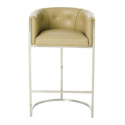 Arteriors Home - Arteriors Home Calvin Leather/Polished Nickel Barstool - Arteriors Home 2594 - If you invite guests to pull up a seat and they pull up this one, they may never go home. It's much more than a barstool, it's an easy chair on steroids. The leather upholstery is stylish and elegant. The low back and curved box-style seating supports and cushions your body. Elevate your decor while you elevate your body.