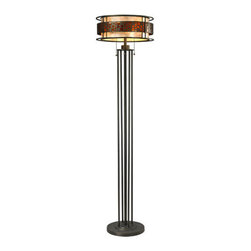 Z-Lite - Z-Lite Z16-50FL Milan 3 Light Floor Lamps in Java Bronze - The Oak Park family finished in Java Bronze offers clean lines with simple, geometric forms to show true craftsman's styling. This 3 Light Floor Lamp is finished in Java bronze paired with White and Amber Micca.