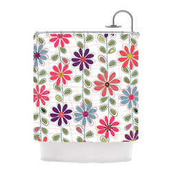 """Kess InHouse - Jolene Heckman """"Fall Flowers"""" Floral Shower Curtain - Finally waterproof artwork for the bathroom, otherwise known as our limited edition Kess InHouse shower curtain. This shower curtain is so artistic and inventive, you'd better get used to dropping the soap. We're so lucky to have so many wonderful artists that you'll probably want to order more than one and switch them every season. You're sure to impress your guests with your bathroom gallery in addition to your loveable shower singing."""