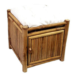 Bamboo54 - Bamboo Square Storage Ottoman w Cushion in Na - You will love the style and function provided by this attractive ottoman. Constructed of natural bamboo, this item features a tropical look and feel and is accompanied by a plush white cushion for maximum comfort. Ideal as extra seating for guests or to put your feet up after a long day. The lower door opens to reveal hidden storage for added appeal. Stool square storage with cushion. Made of Bamboo and Canvas. No assembly required. 17 in. W x 17 in. D x 17 in. H