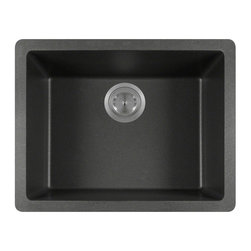 "MR Direct - MR Direct 808 Black TruGranite Single Bowl Kitchen Sink - The TruGranite 808-Black single bowl sink is made from a granite composite material that is comprised of 80% Quartzite and 20% Acrylic. Silver ions are added to the sink during the manufacturing process that kill 99% of bacteria on contact.  Aside from being anti-bacterial, the 808-Black is stain and scratch resistant and can resist heat up to 550 degrees. The overall dimensions of the sink are  21 5/8"" x 16 7/8"" x 7 3/4"" and a 24"" minimum cabinet size is required. The sink contains a 3 1/2"" offset drain and is available in multiple colors. As always, our TruGranite sinks are covered under a limited lifetime warranty for as long as you own the sink.  Strainers not included."