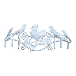 Renovators Supply - Hooks Wrought Iron Hook White Rooster - Our Multi Hook is most popular in entryways for coats, on bathroom doors for towels and robes. Our exclusive RSF  coating protects this item for years to come. They look fantastic in either a contemporary bathroom & kitchen or a Victorian hallway. Hand-forged wrought iron.
