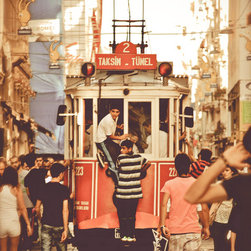 Catching A Ride-Taksim Square Trolley-Istanbul, Fine Art Photography Print - Photo was taken in Taksim Square- Istanbul, Turkey . Summer 2010