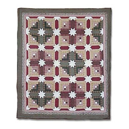 Patch Quilts - Snowflake Log Cabin Twin Quilt - -Constructed of 100% Cotton  -Machine washable; gentle dry  -Made in India Patch Quilts - QTSFLC