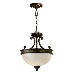 Quorum Lighting - Quorum Lighting 2886-15-86 Alameda Traditional Inverted Pendant Light - Crafted in the tradition of Old-Worl European design, the Alameda family recalls the romance of centuries-old architectural detailing. Scrolling, rope-wound arms add a touch of feminity to the rustic creation, and soft, etheral light radiates from the waxy pillar candle-style light source. The oiled bronze ironwork contrasts with the ivory hue of the pillar candles create rich depth and a warm sensory experience.