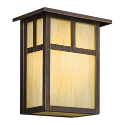 KICHLER - KICHLER 9147CV Alameda Arts and Crafts/Mission Outdoor Wall Sconce - The Alameda Collection brings its simple, down-to-earth design to your outer decor adding an unassuming dynamic to your home's profile. Each fixture utilizes a classic lantern shape. Our Canyon View finish and Honey opalescent glass panels, add instant beauty and ambiance, making the Alameda Collection a family of outdoor fixtures that garners attention wherever you install it.