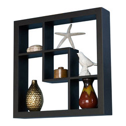 Southern Enterprises - Southern Enterprises Madison Display Shelf in Black - Southern Enterprises - Wall Display Shelves - EN5162. These elegant display cubes are a perfect solution for all your decor needs! This cube display shelf will provide an easy way to update any wall, whether in a traditional or contemporary setting. A cool and contemporary way to show off souvenirs, small treasures or art, this wall cube creates a dynamic arrangement in a living or dining room.