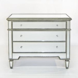 "Mirrored Three Drawer Chest with Silver Detailing - This lovely mirrored chest comes with three drawers and features silver edging and glass knobs.  The chest measures 42""W X 19""D X 35""H.  Product in photo is from www.wellappointedhouse.com"