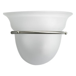 Progress Lighting - Progress Lighting P7181-09 One-Light Sconce With Etched Glass - One-light wall sconce with etched white oversized, bell-shaped glass bowl. Brushed Nickel finish.