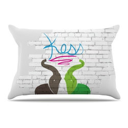 """Kess InHouse - KESS Original """"Elephants"""" Pillow Case, Standard (30"""" x 20"""") - This pillowcase, is just as bunny soft as the Kess InHouse duvet. It's made of microfiber velvety fleece. This machine washable fleece pillow case is the perfect accent to any duvet. Be your Bed's Curator."""