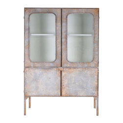 Distressed Metal Medicine Cabinet - A reproduction of a pharmaceutical cabinet used in the days of yore, this two-door metal cabinet is big on rustic charm and keeps you organized in functional style. From the bathroom to kitchen to bedroom, its usefulness goes to work for you no matter the d̩cor.