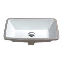 Hahn - Hahn Ceramic Medium Rectangular Bowl Undermount White Bathroom Sink - With clean lines and great durability, this Hahn sink features a rectangular design with sharp angles. Lending an understated elegance to any style of bathroom, the sink comes in a gleaming white porcelain/ceramic.