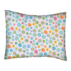 SheetWorld - SheetWorld Twin Pillow Case - Flannel Pillow Case - Fun Circles - Made in USA - Twin pillow shams. Made of an all cotton flannel fabric. Fits a standard twin size pillow. Side Opening. Features fun circles.