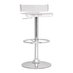 "Chintaly Imports - Clear/Chrome Pneumatic Gas Lift Adjustable Height Swivel Stool - Gloss chrome adjustable height swivel acrylic stool. Seat height adjusts from 21""-30"". It has a chrome base and full ring footrest. It is available in Grey, Red or Smoked transparent acrylic."