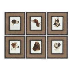 Uttermost - Uttermost Special Friends Wall Art Set of 6 - Medium brown burlap mats surround the prints. Frames and fillets have a black base coat with heavy brown and taupe distressing accented with gold dry brushing.