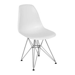 Fine Mod Imports - Wire Leg Dining Chair in White - White ABS frame material. 18 in. W x 19 in. D x 32 in. HThe Wire Leg Dining Chair is a truly comfortable chair, it has a high flexible back with give and a deep seat pocket supported by an elegant wire base.