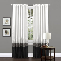 Lush Decor - Mia White Pieced 84-inch Curtain Panel Pair - This colorful faux silk window panel transforms and brightens the room. A series of four pleats gives the panel a clean and very finished look and a rod pocket provides quick and easy installation.