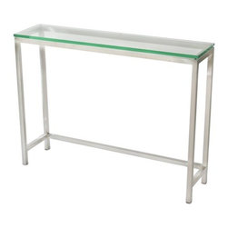 TFG Furniture - Soho Medium Console Table - TFG Furniture Soho Medium Console Table. Soho Medium Console Table. Thinner profile frame perfect for smaller spaces. Frame constructed with 1' square stainless steel tubes. Glass is 5/8' thick which provides a safe and scratch resistant surface. Corners are smooth and absolutely seamless using a special welding technique.No assembly required.
