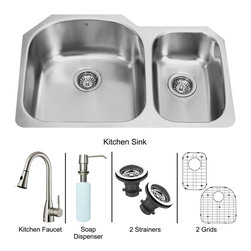 Vigo Industries - Platinum Undermount Stainless Steel Kitchen Sink with Two Strainers - Includes stainless steel kitchen sink, stainless steel kitchen faucet, matching kitchen sink grids for larger and smaller bowls, two strainers and stainless steel soap dispenser