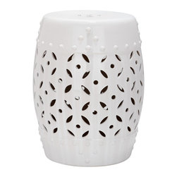 Safavieh - Safavieh Paradise Harmony White Ceramic Garden Stool - You'll love the decorative look of this white ceramic garden stool, which is suitable for use either inside or out. Whether you use the handmade seat as a stool, a plant stand, a foot rest, or a table, you'll appreciate the versatility it provides.