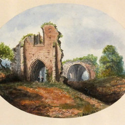 Consignment Medieval Ruins Painting, C. 1862 - Original gouache painting of a crumbling stone tower overgrown with lush vegetation by French artist Delastre, 1862. Dated lower right.
