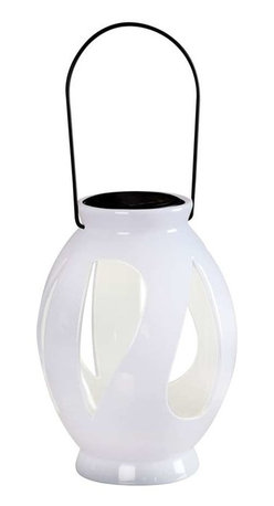 Kenroy Home - Kenroy Home Leaves Solar Lantern, Black - 60525WH - These beautiful outdoor lanterns will charge themselves when the sun is up, then light themselves when the sun goes down! Hang them in limbs or use to decorate steps, tables, or anywhere you want stylish, decorative light. Black Finish