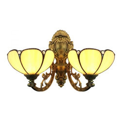 ParrotUncle - Iron Base 2 Lights Tiffany Wall Sconces For Indoor - Iron Base 2 Lights Tiffany Wall Sconces For Indoor
