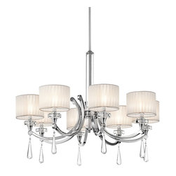 """KICHLER - KICHLER 42632CH Parker Point Transitional Chandelier - Fabric, crystal and polished chrome come together to give the Parker Point™ Collection its soft, elegant style. Crystal touches embellish the center column, bobeches and pendalogues and come alive when the fixture's illuminated. Organza fabric overlays the inner shades, creating a dressy, layered look.For additional chain order KCH-4901-CH and for additional stem KCH-4935 (12"""") CH."""