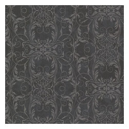 Brewster Home Fashions - Tianna Charcoal Ironwork Scroll Wallpaper Bolt - This glamorous ironwork scroll design arranges an exquisite silver filigree over a posh charcoal black distress. The wallpaper achieves a posh fusion of drama and delicacy enhanced by glitter ink.