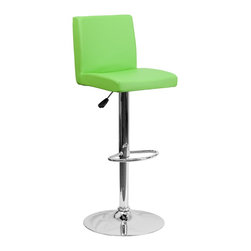 Flash Furniture - Flash Furniture Barstools Residential Barstools X-GG-NRG-66029-HC - This dual purpose stool easily adjusts from counter to bar height. The simple design allows it to seamlessly accent any area in the home. Not only is this stool stylish, but very comfortable to provide you with an amazing sitting experience! The easy to clean vinyl upholstery is an added bonus when stool is used regularly. The height adjustable swivel seat adjusts from counter to bar height with the handle located below the seat. The chrome footrest supports your feet while also providing a contemporary chic design. [CH-92066-GRN-GG]