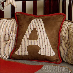 Adams Modern Initial Pillow by Bebe Chic - Adams Modern Initial Pillow is a unique and exciting addition to any child`s room. An embroidered letter on the front side of this pillow displays the letter of your child's name. Personalize the pillow with the letter of your choosing at no additional cost. Letter will appear in same color fabric as shown in picture. The fabric is a combination of the materials used in the Adams Modern Initial Pillow. The pillow is durable and stylish and is a great item on its own or makes a great addition.