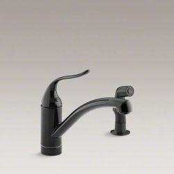 KOHLER - KOHLER Coralais(R) decorator two-hole kitchen sink faucet with spout, matching f - Offering quality and versatile style, this Coralais Decorator sink faucet brings sleek design continuity to the kitchen. The single-handle design offers easy operation, and the arching swing spout makes room for pots and pans. A sidespray provides additional convenience for many tasks.