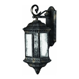 Hinkley Lighting - 1725BG Regal Outdoor Wall Light, Black Granite, Water Seedy Glass - Traditional Outdoor Wall Light in Black Granite with Water Seedy glass from the Regal Collection by Hinkley Lighting.