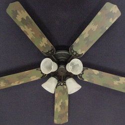 Ceiling Fan Designers - Ceiling Fan Designers Camouflage Indoor Ceiling Fan - Green - 42FAN-KIDS-CAMOG - Shop for Ceiling Fans and Components from Hayneedle.com! You know your little dude is going to love his Ceiling Fan Designers Camouflage Indoor Ceiling Fan - Green. This ceiling fan and light kit combo will light up and cool down his room in manly style. It comes in your choice of size: 42-inch with 4 blades or 52-inch with 5. The blades are reversible so even though he may never want to change it you get the camo design on one side and classic white on the other. It has a powerful yet quiet 120-volt 3-speed motor with easy switch for year-round comfort. The 42-inch fan includes a schoolhouse-style white glass shade and requires one 60-watt candelabra bulb (not included). The 52-inch fan has three alabaster glass shades and requires three 60-watt candelabra bulbs (included). Your ceiling fan includes a 15- to 30-year manufacturer's warranty (based on size). Also great in the man cave.