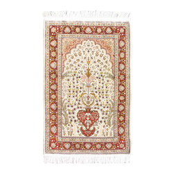 "Turkish Prayer Hereke Silk Area Rug - 2' 4"" x 3' 7"" - Exact Rug Size: 2 ft 4 inch by 3 ft 7 inch"