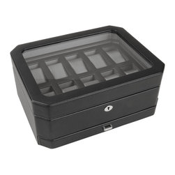 WOLF - Watch Boxes 10PC Watch Box w/ Drawer in Black - Keep all your valuables together in this handsome leather case. An additional drawer allows you to store your wallet, cell phone, spare change and keys.