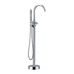 HelixBath - HelixBath Alamere Gooseneck Freestanding Modern Tub Faucet, Chrome with Hand Sho - A primary function of a faucet is to mix cold and hot water to the perfect, desired temperature. Alamere mixes water temperature as well as it mixes design styles. The sleek cylindrical body and arching gooseneck faucet are unmistakably modern. The hot & cold spindle water handles and traditional button diverter are classic designs. The combination of both into one, creates Alamere. A freestanding faucet grounded in tradition that pairs exceptionally well with modern freestanding tub designs.