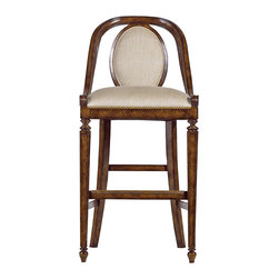 "Stanley Furniture - Arrondissement Parc Bar Stool - Heirloom Cherry Finish - Elegant scroll carving echos the flowing lines of the Parc Bar Stool's back and arms. The seat and oval back insert are covered in Chevron fabric accented with antique brass nailheads. Seat: 18"" W X 18"" D Made to order in America."