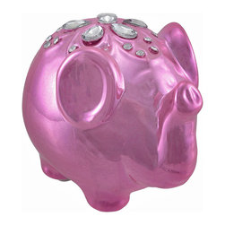 Metallic Pink Lucky Elephant Coin Bank with Rhinestones - Seeing pink elephants? Fortunately, elephants are thought to be a symbol of good luck, even pink ones. Made of ceramic, it measures 4 1/4 inches long, 3 1/2 inches tall, 3 inches wide, and it is adorned with sparkling rhinestones on its back. Display this elephant in your office and use its reflective surface to see when someone is creeping up behind you, or to see if there is something in your teeth after lunch. Display it in your home on a shelf or table as an adorable knick knack. This piece makes a great gift that is sure to be admired.