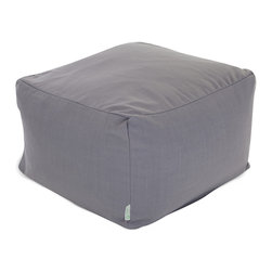 Majestic Home - Indoor Gray Wales Large Ottoman - You've got sophisticated style but need a durable, versatile piece for your favorite casual setting. The smart solution: This linen-blend update on the beanbag functions as a footstool, coffee table or comfy seat, and the slipcover zips off for easy cleaning.